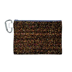 Colorful And Glowing Pixelated Pattern Canvas Cosmetic Bag (m)
