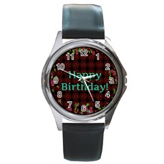 Happy Birthday To You! Round Metal Watch