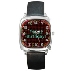 Happy Birthday To You! Square Metal Watch