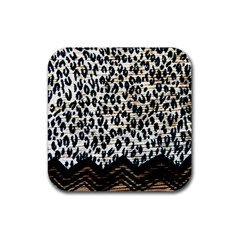 Tiger Background Fabric Animal Motifs Rubber Square Coaster (4 Pack)