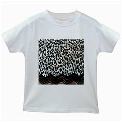 Tiger Background Fabric Animal Motifs Kids White T Shirts