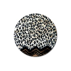 Tiger Background Fabric Animal Motifs Magnet 3  (round)