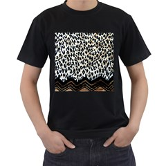 Tiger Background Fabric Animal Motifs Men s T Shirt (black) (two Sided)