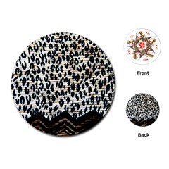 Tiger Background Fabric Animal Motifs Playing Cards (round)