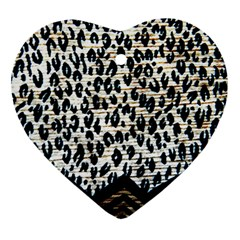 Tiger Background Fabric Animal Motifs Heart Ornament (two Sides)