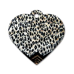 Tiger Background Fabric Animal Motifs Dog Tag Heart (One Side)