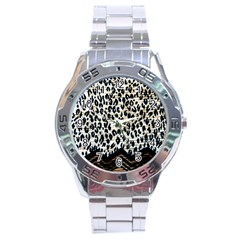 Tiger Background Fabric Animal Motifs Stainless Steel Analogue Watch