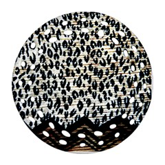Tiger Background Fabric Animal Motifs Ornament (round Filigree)