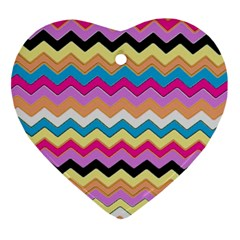Chevrons Pattern Art Background Ornament (heart)