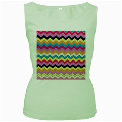Chevrons Pattern Art Background Women s Green Tank Top