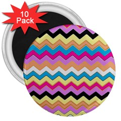 Chevrons Pattern Art Background 3  Magnets (10 Pack)