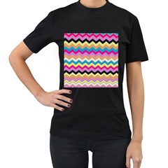 Chevrons Pattern Art Background Women s T Shirt (black) (two Sided)