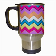 Chevrons Pattern Art Background Travel Mugs (white)