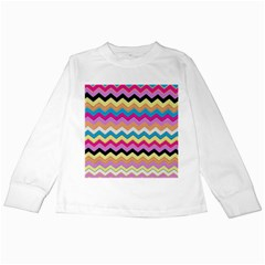 Chevrons Pattern Art Background Kids Long Sleeve T Shirts