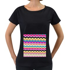 Chevrons Pattern Art Background Women s Loose Fit T Shirt (black)