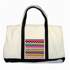 Chevrons Pattern Art Background Two Tone Tote Bag