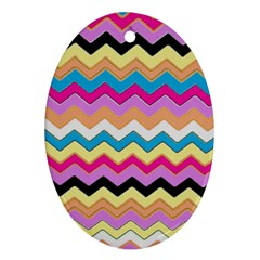 Chevrons Pattern Art Background Oval Ornament (two Sides)
