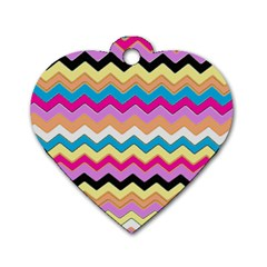 Chevrons Pattern Art Background Dog Tag Heart (one Side)