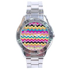 Chevrons Pattern Art Background Stainless Steel Analogue Watch