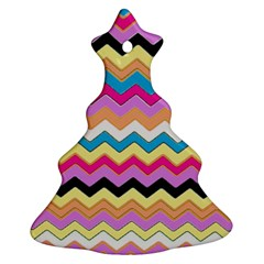 Chevrons Pattern Art Background Christmas Tree Ornament (two Sides)