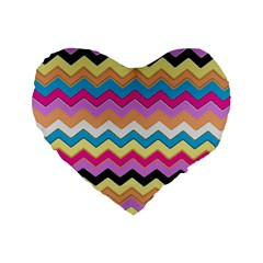 Chevrons Pattern Art Background Standard 16  Premium Heart Shape Cushions