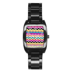 Chevrons Pattern Art Background Stainless Steel Barrel Watch