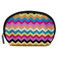 Chevrons Pattern Art Background Accessory Pouches (large)