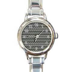 Greyscale Zig Zag Round Italian Charm Watch