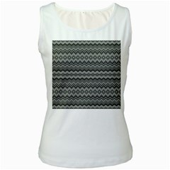 Greyscale Zig Zag Women s White Tank Top