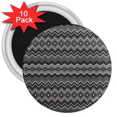 Greyscale Zig Zag 3  Magnets (10 Pack)