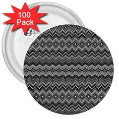 Greyscale Zig Zag 3  Buttons (100 Pack)