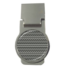 Greyscale Zig Zag Money Clips (round)