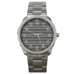 Greyscale Zig Zag Sport Metal Watch