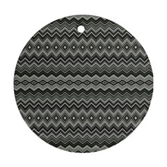 Greyscale Zig Zag Round Ornament (two Sides)