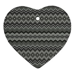 Greyscale Zig Zag Heart Ornament (Two Sides)