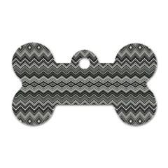 Greyscale Zig Zag Dog Tag Bone (one Side)