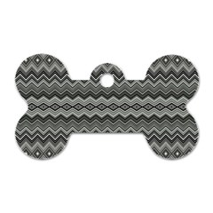 Greyscale Zig Zag Dog Tag Bone (two Sides)