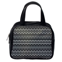 Greyscale Zig Zag Classic Handbags (one Side)