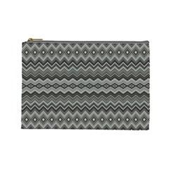 Greyscale Zig Zag Cosmetic Bag (large)