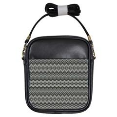 Greyscale Zig Zag Girls Sling Bags