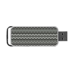 Greyscale Zig Zag Portable Usb Flash (one Side)