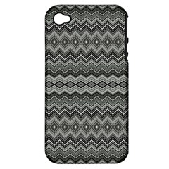 Greyscale Zig Zag Apple Iphone 4/4s Hardshell Case (pc+silicone)
