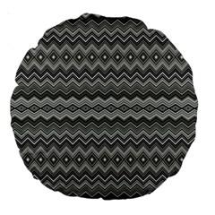 Greyscale Zig Zag Large 18  Premium Round Cushions