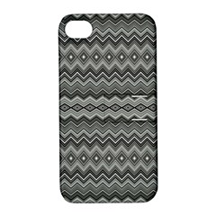 Greyscale Zig Zag Apple Iphone 4/4s Hardshell Case With Stand