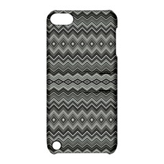Greyscale Zig Zag Apple Ipod Touch 5 Hardshell Case With Stand
