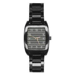 Greyscale Zig Zag Stainless Steel Barrel Watch