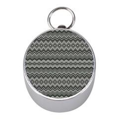 Greyscale Zig Zag Mini Silver Compasses