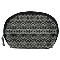Greyscale Zig Zag Accessory Pouches (large)