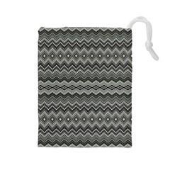 Greyscale Zig Zag Drawstring Pouches (large)