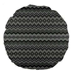 Greyscale Zig Zag Large 18  Premium Flano Round Cushions